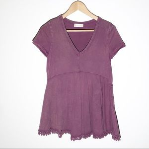ALTar'D STATE maroon distressed with lace SZ S